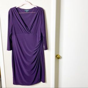 Ralph Lauren LRL midi slit dress size 16 purple